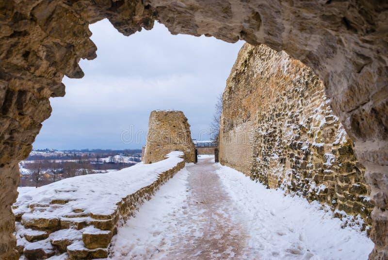 Chemin de ronde and tower in winter scene stock photos