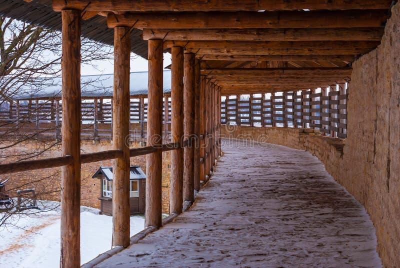 Chemin de ronde in winter scene stock photo