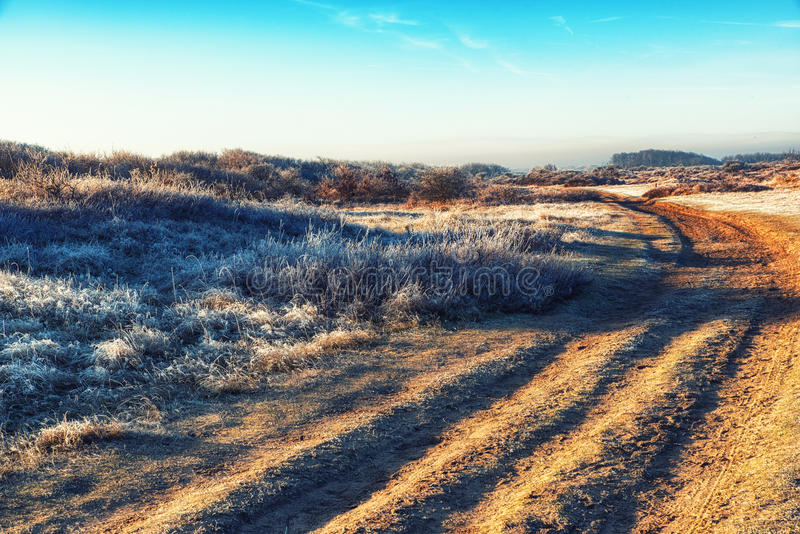 Chemin de terre d'hiver image stock
