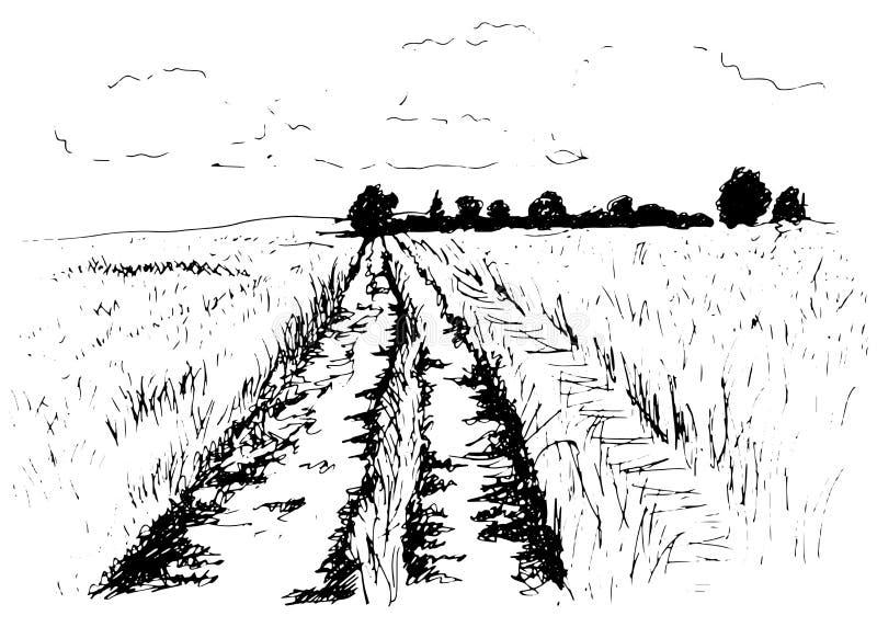 Chemin de terre de croquis de main illustration stock