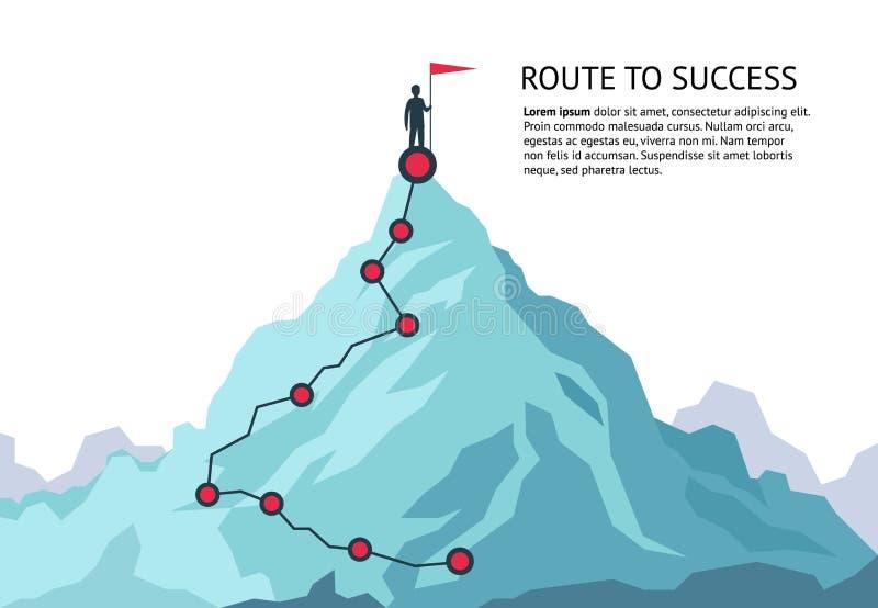 Chemin de voyage de montagne Voyage supérieur de plan de croissance de but de carrière infographic de défi d'itinéraire au succès illustration de vecteur
