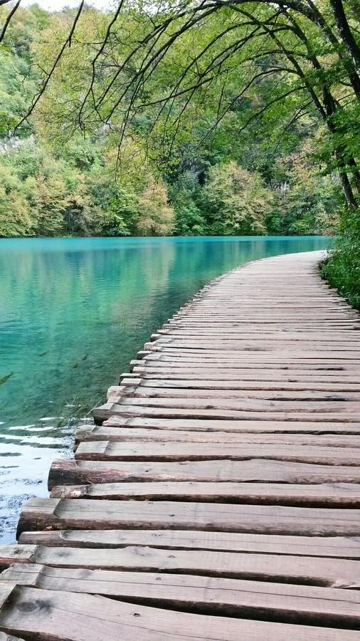 Chemin en bois au parc national de lacs Plitvice photographie stock libre de droits