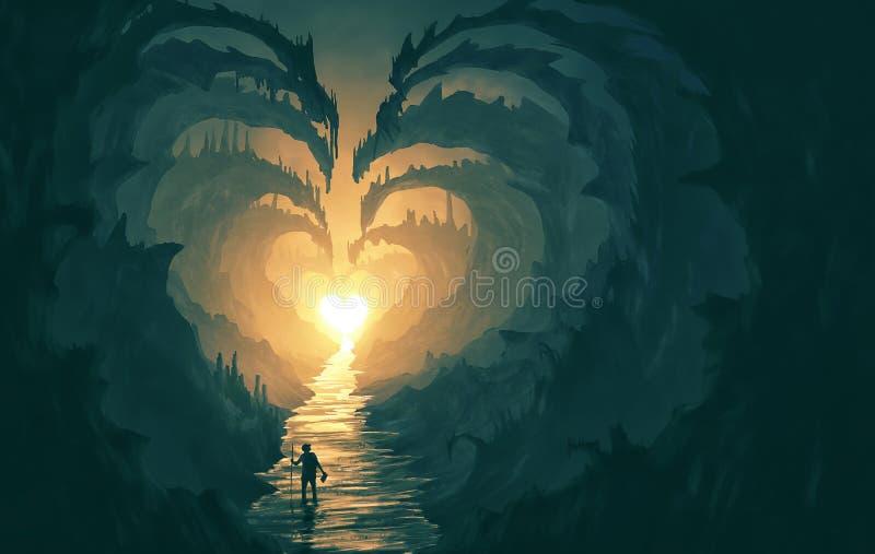 Chemin en forme de coeur à travers des roches illustration stock
