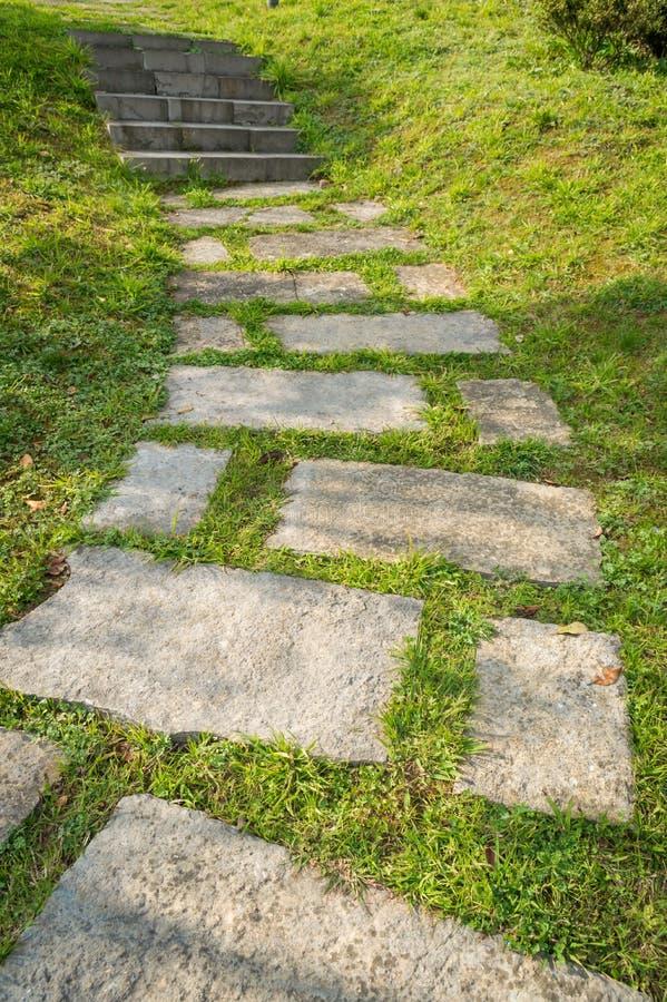 chemin en pierre sur la pelouse photo stock image du. Black Bedroom Furniture Sets. Home Design Ideas