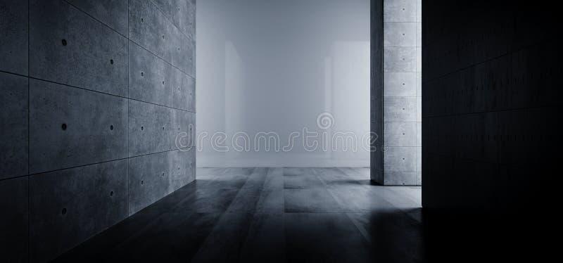 Chemin léger foncé vide Sci rugueux réfléchi souterrain de grande de Hall Room Corridor Cement Tunnel galerie concrète grunge élé illustration de vecteur
