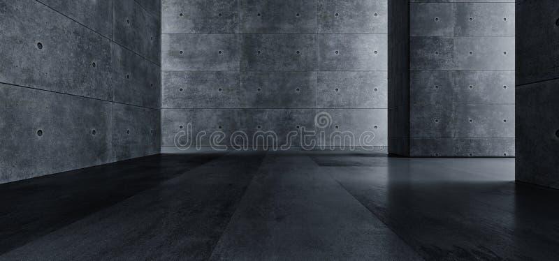 Chemin léger foncé vide Sci rugueux réfléchi souterrain de grande de Hall Room Corridor Cement Tunnel galerie concrète grunge élé illustration stock