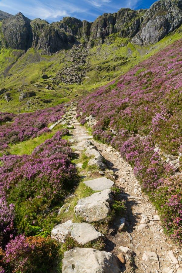 Chemin, lac et montagnes, Cwm Idwal et la cuisine de Devil's photos stock