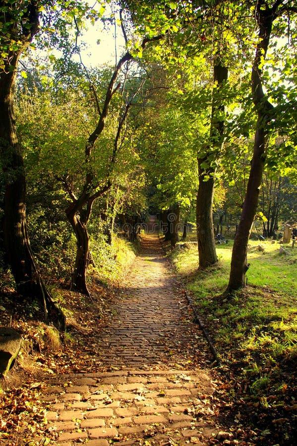 Chemin menant vers le bas à partir d'une cimetière, Prestwich photos stock