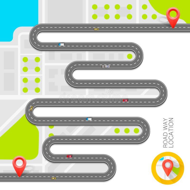 Chemin pavé sur la route Fond de vecteur illustration de vecteur