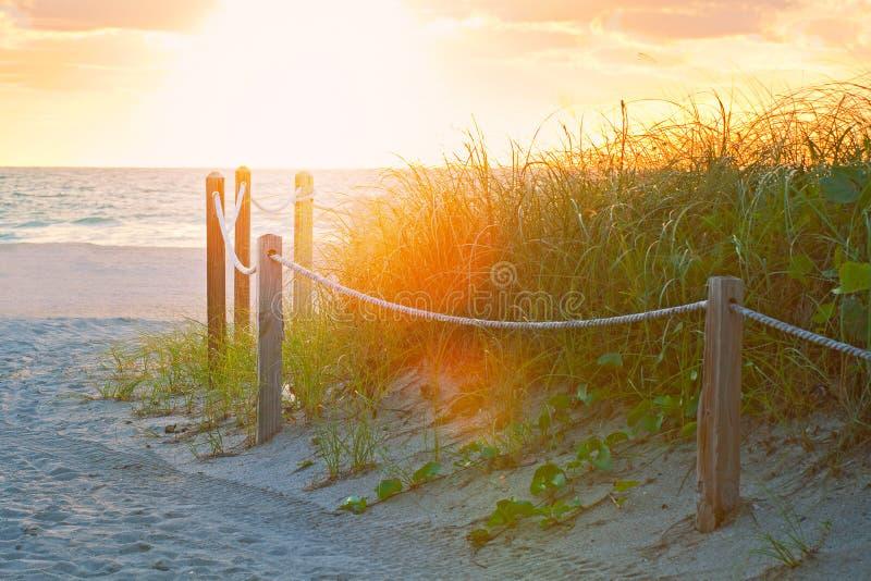 Chemin sur le sable allant à l'océan dans Miami Beach photographie stock