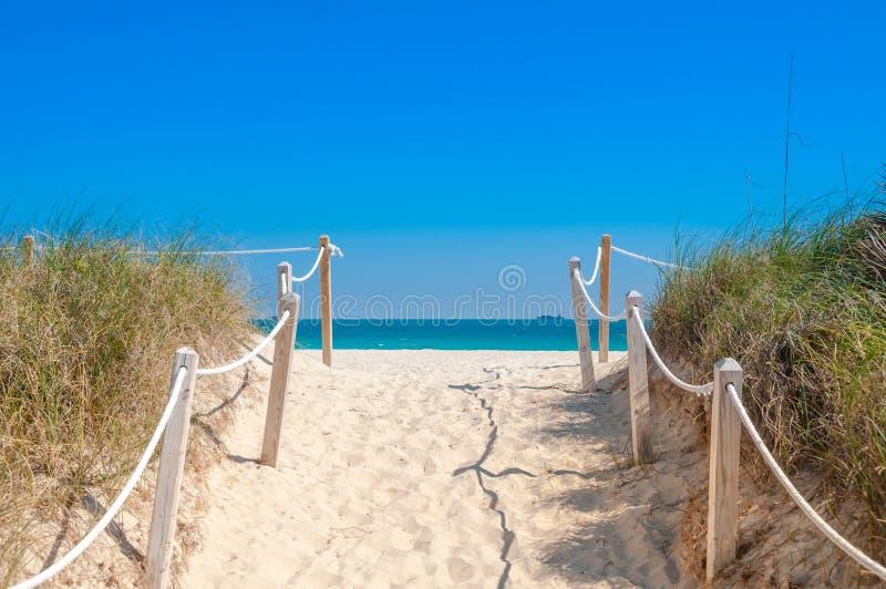 Chemin sur le sable allant à l'océan dans Miami Beach image stock
