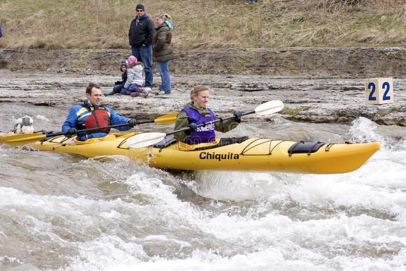 Chemin tandem de Kayak-Fleuve, espoir gauche, 31 mars /2012 photos libres de droits