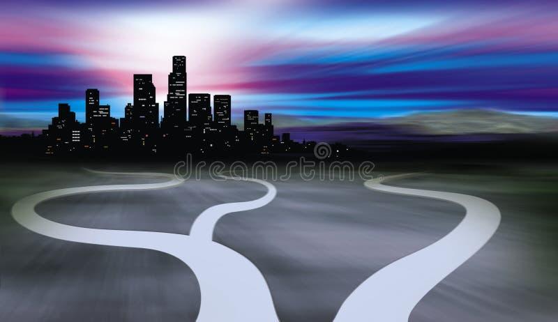 Chemins menant à la ville et au désert illustration de vecteur