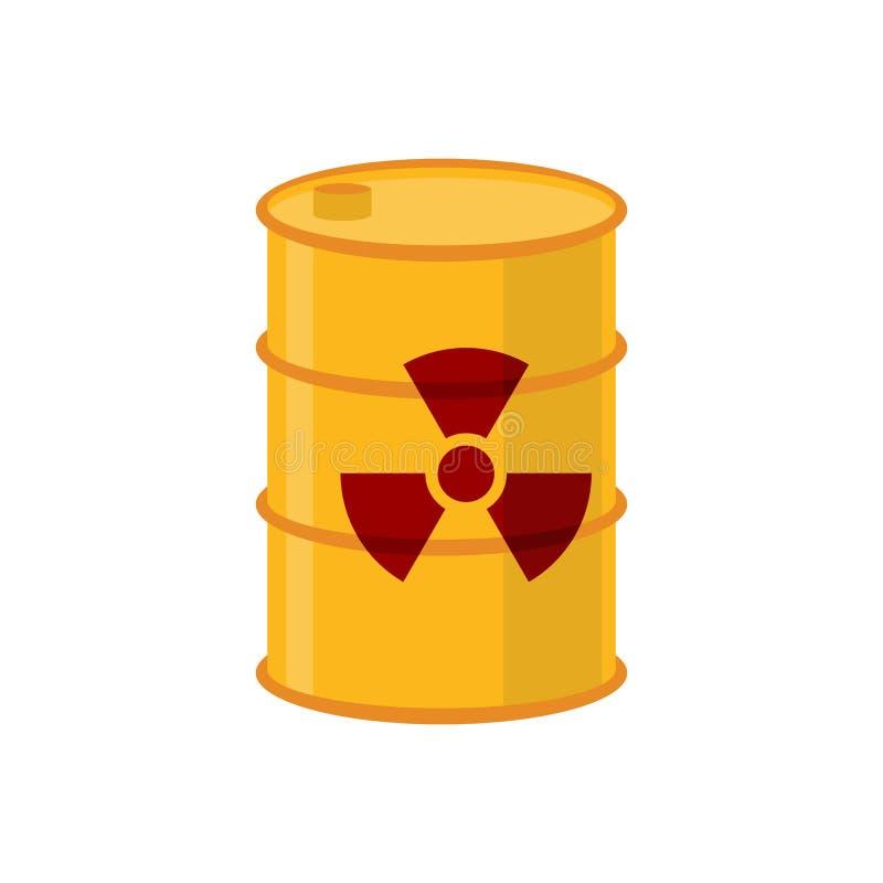 Chemisch afval geel vat Giftig afvalvaatje Giftige vloeistof stock illustratie