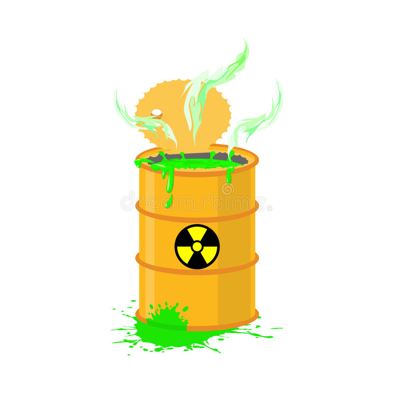 Chemisch afval geel vat Giftig afvalvaatje Giftige vloeistof royalty-vrije illustratie