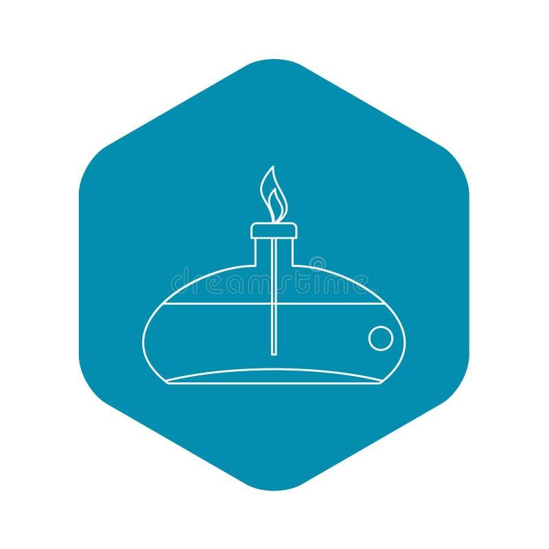 Chemisch branderpictogram, overzichtsstijl stock illustratie