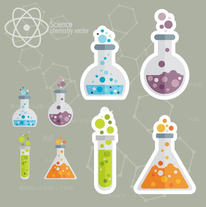 Chemisch die Pictogram met achtergrond wordt geplaatst vector illustratie