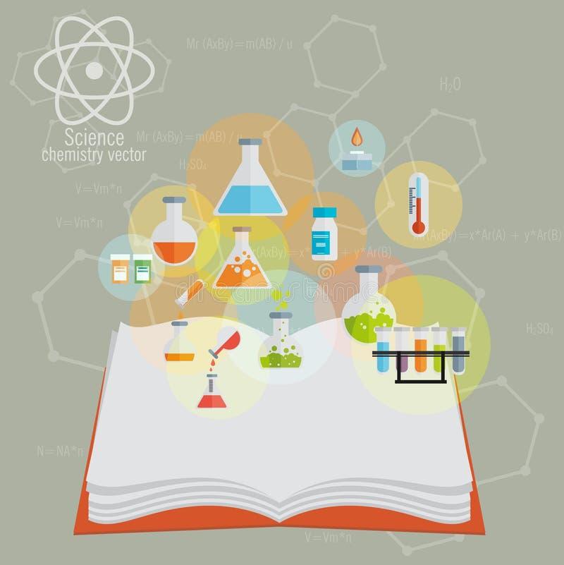 Chemisch die Pictogram met open boek en achtergrond wordt geplaatst royalty-vrije illustratie