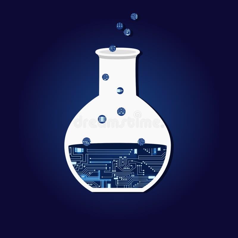Chemisch experiment met elektronische kring vector illustratie
