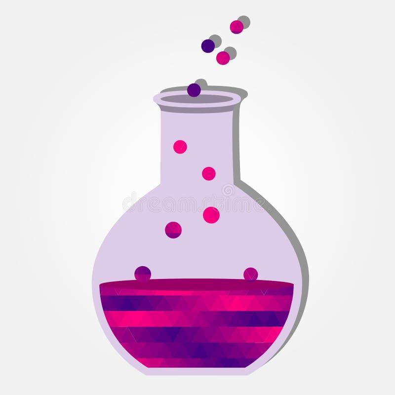 Chemisch experiment met kleurrijke driehoeken royalty-vrije illustratie