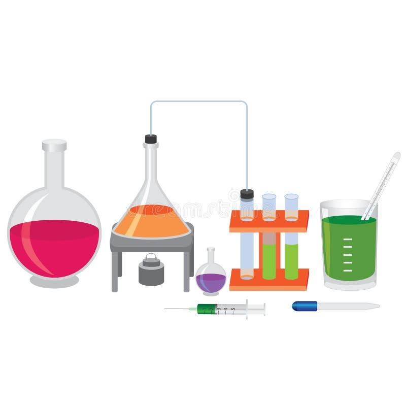 Chemisch experiment met vloeistoffen. stock illustratie