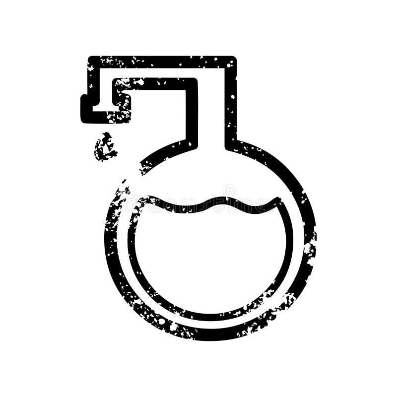 chemisch flesje verontrust pictogram vector illustratie