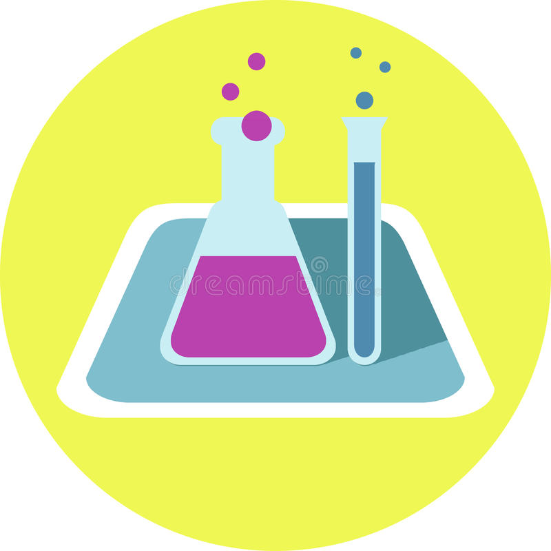 Chemisch Flessen Vlak Pictogram stock illustratie