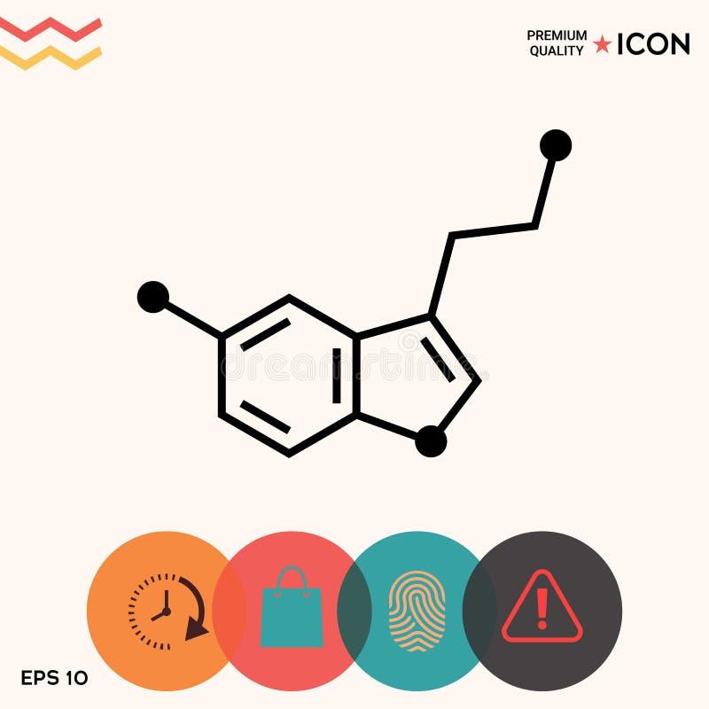 Chemisch formulepictogram serotonine vector illustratie