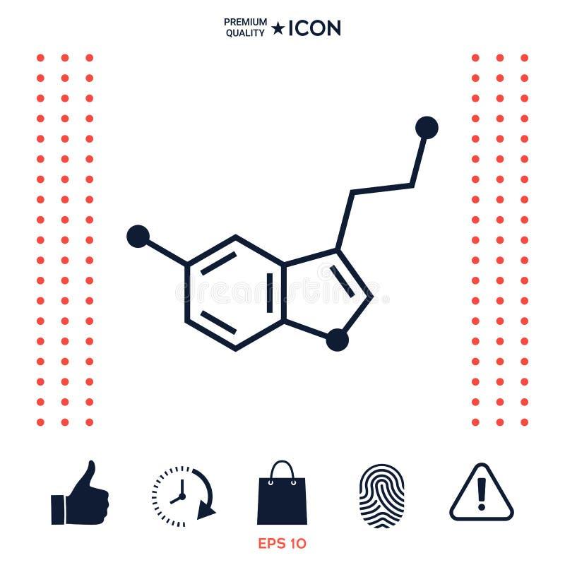 Chemisch formulepictogram serotonine royalty-vrije illustratie