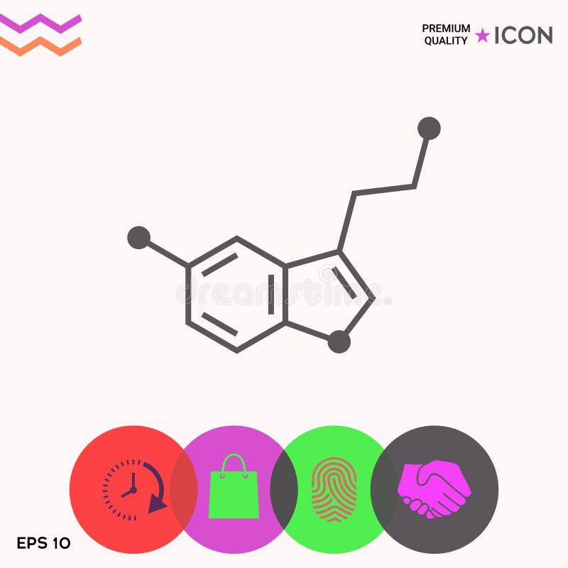Chemisch formulepictogram serotonine stock illustratie