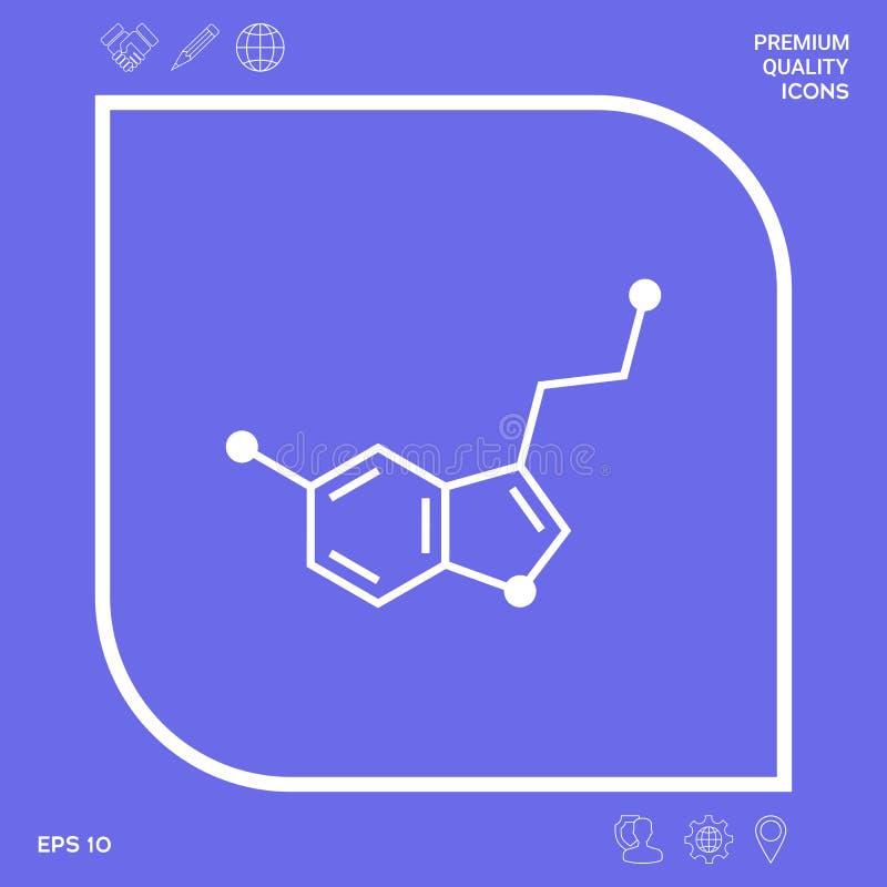 Chemisch formulepictogram serotonine Grafische elementen voor uw ontwerp stock illustratie