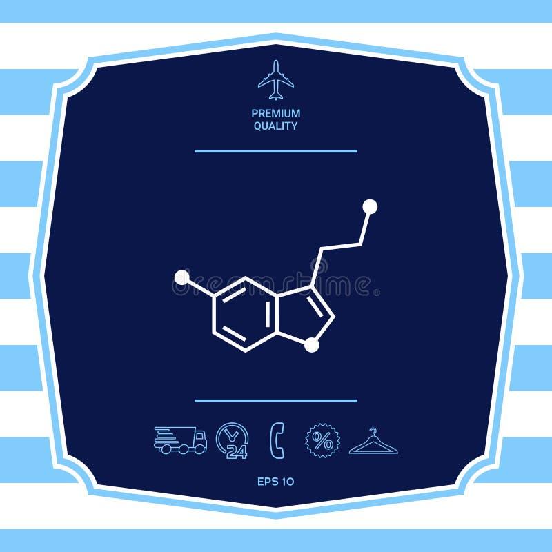 Chemisch formulepictogram serotonine Grafische elementen voor uw ontwerp royalty-vrije illustratie