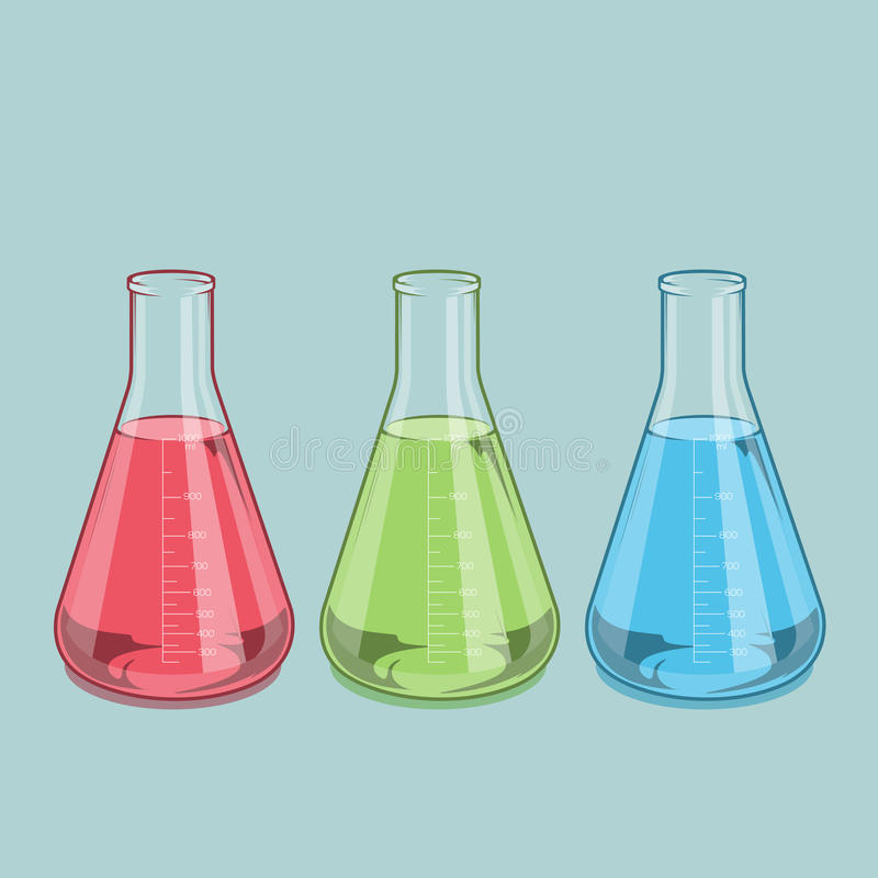Chemisch geïsoleerd laboratoriumglaswerk Rode, groene en blauwe vloeistof Erlenmeyer-fles 1000ml Rassenbarrièreart. Retro ontwerp stock illustratie