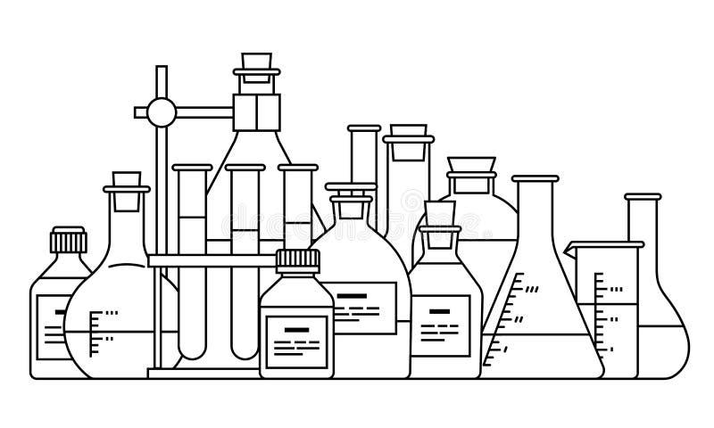 Chemisch glaswerkpictogram stock illustratie