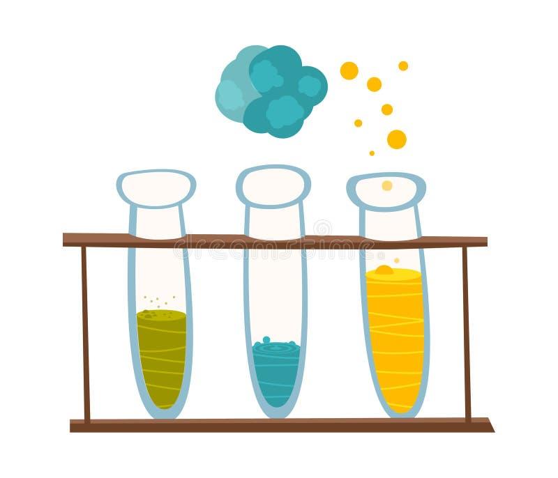 Chemisch instrumenten en materiaal Bekers met reagentia voor experimenten in de stijl van het beeldverhaal Vector royalty-vrije illustratie