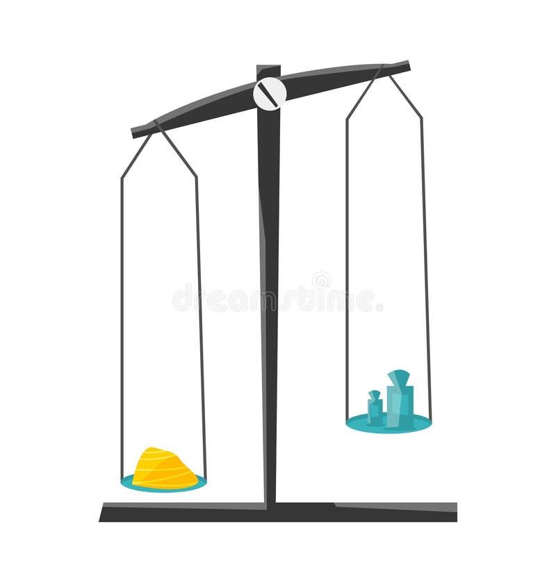 Chemisch instrumenten en materiaal Chemisch evenwicht met gewichten en poeder Vector vector illustratie