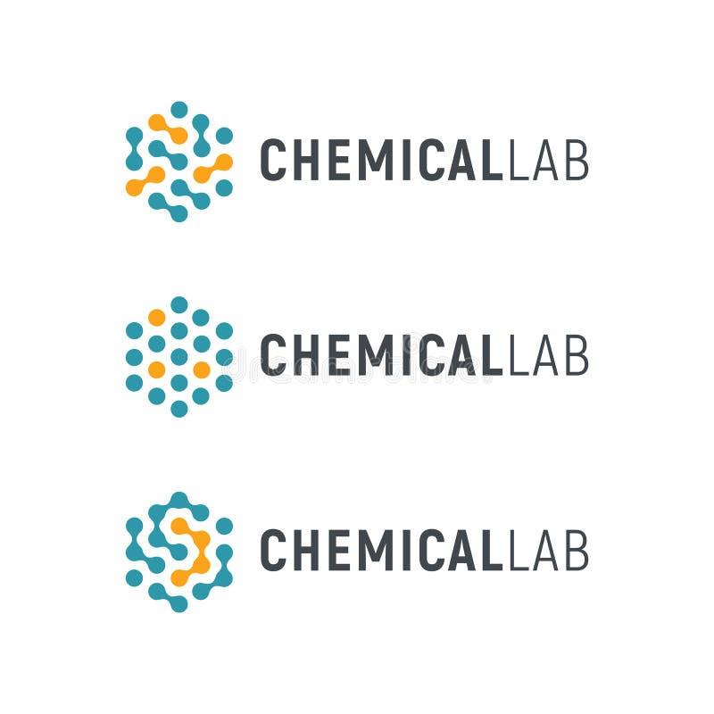 Chemisch Laboratorium Logo Template Abstracte hexagon vector logotype Biologiehi-tech technologieemblemen Medische apparatuur vector illustratie
