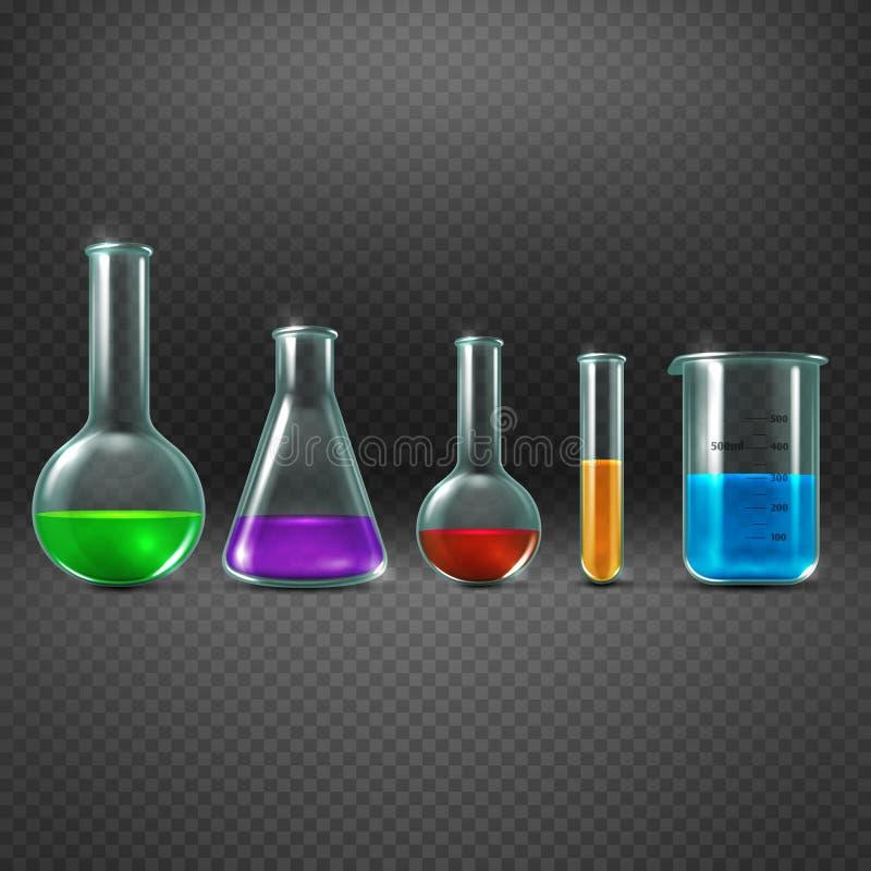 Chemisch laboratorium met chemische producten in de vectorillustratie van het reageerbuismateriaal vector illustratie