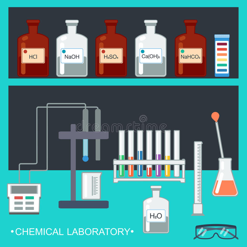Chemisch laboratorium Vlak Ontwerp Chemisch glaswerk, die werktuigen, ionenelektrode, testph document, laboratoriumbank meten Vec stock illustratie
