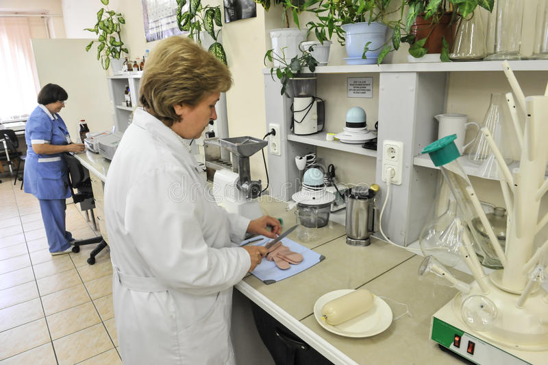 Chemisch laboratorium voor het testen van voedsel stock foto