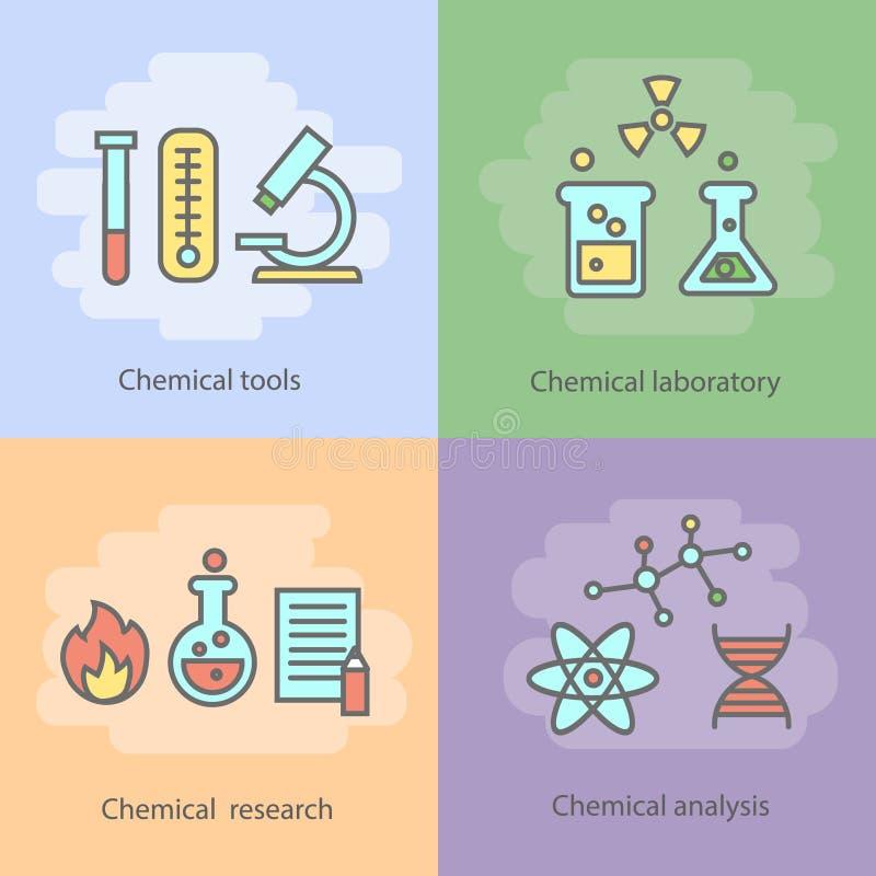 Chemisch laboratoriumconcept met instrumentatieglaswerk en de vector van experimentenreacties royalty-vrije illustratie