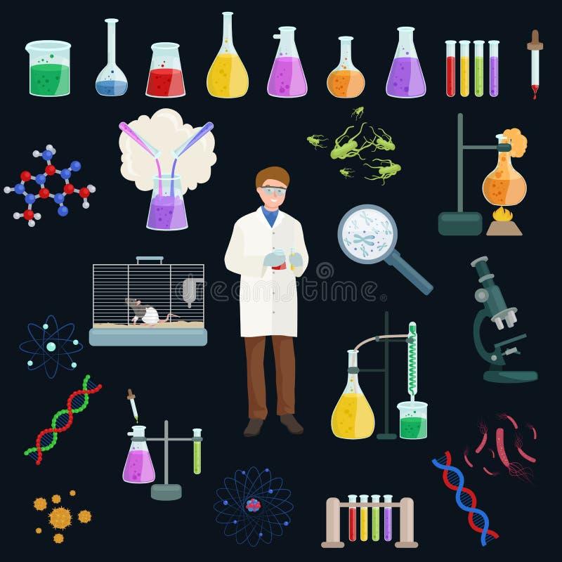Chemisch product en de reeks van het het materiaalpictogram van het menicinelaboratorium, hulpmiddelenvector royalty-vrije illustratie