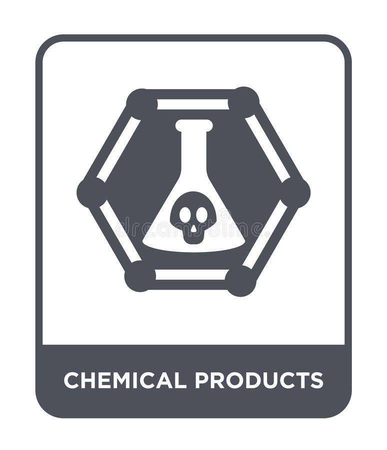 chemisch productenpictogram in in ontwerpstijl Chemisch die productenpictogram op witte achtergrond wordt geïsoleerd chemisch pro stock illustratie