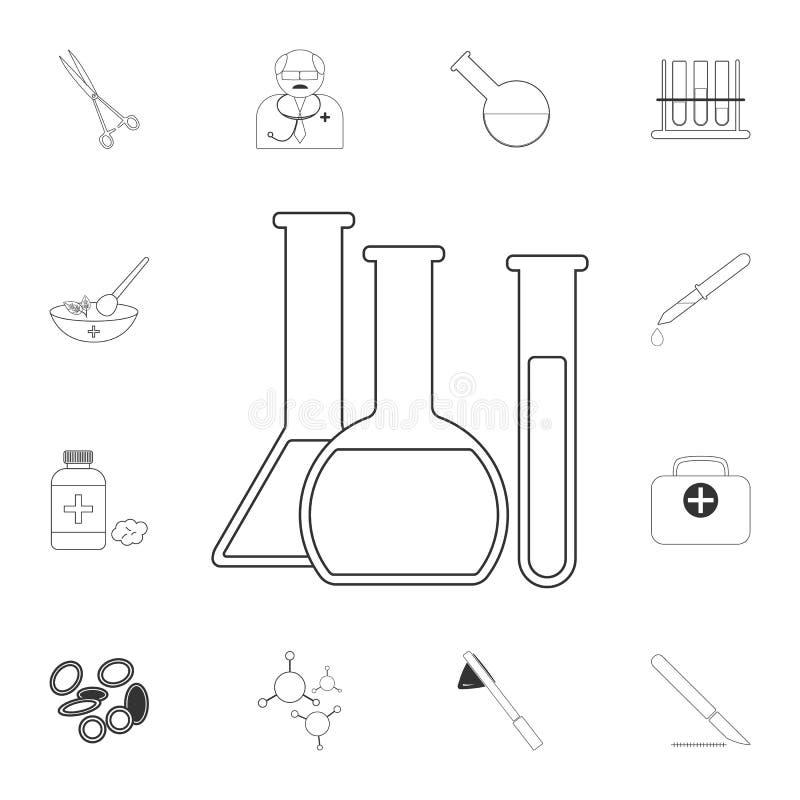 Chemisch Reageerbuizenpictogram Eenvoudige elementenillustratie Het chemische ontwerp van het reageerbuizensymbool van Medische i royalty-vrije illustratie