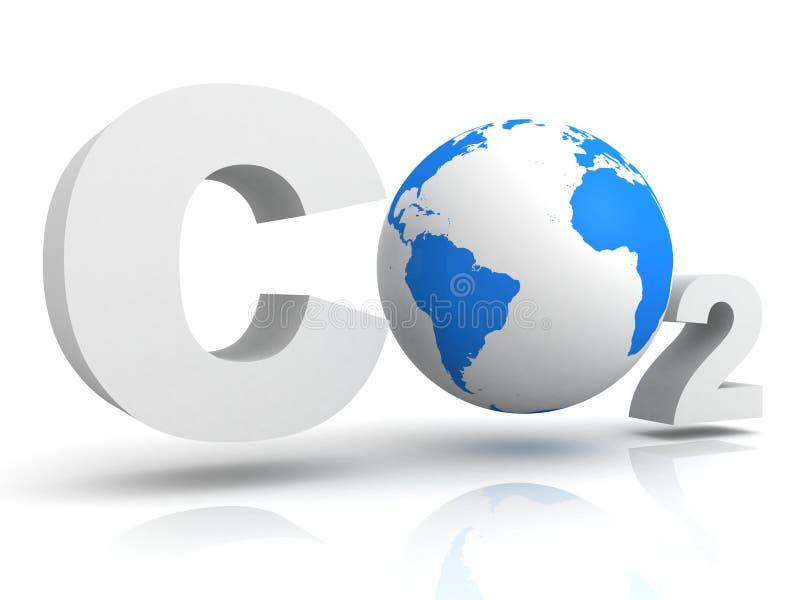 Chemisch symboolCo2 voor kooldioxide met bol stock illustratie