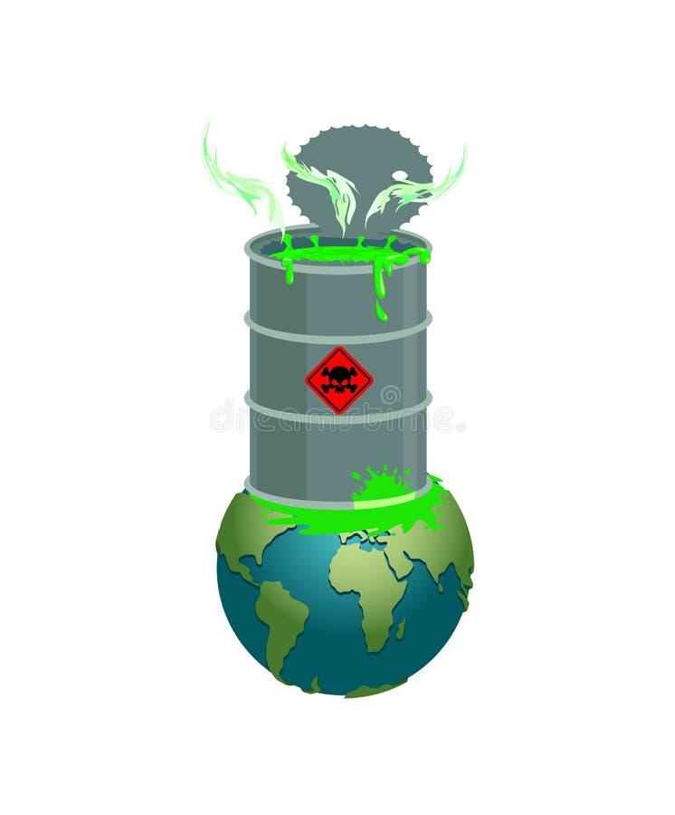 Chemische afvalvat en aarde Verontreiniging van planeet Kernwa stock illustratie