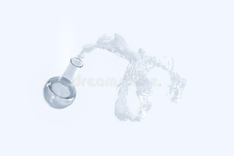 Chemische Ausrüstungsflasche und spritzen Flüssigkeit, Wiedergabe 3d lizenzfreie abbildung