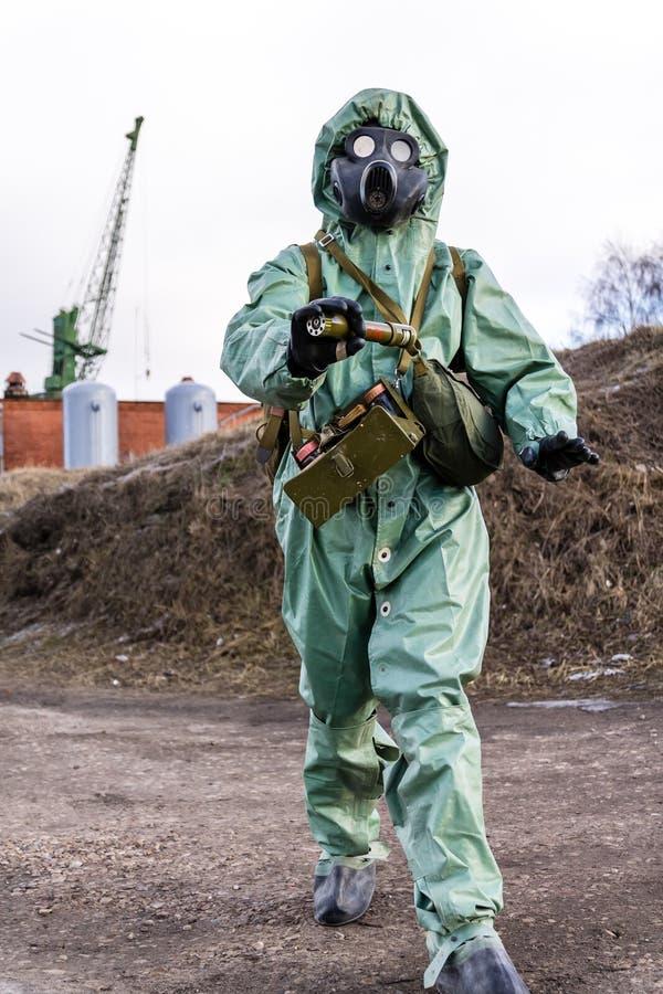Chemische beschermende kleding van Sovjetunie stock afbeeldingen
