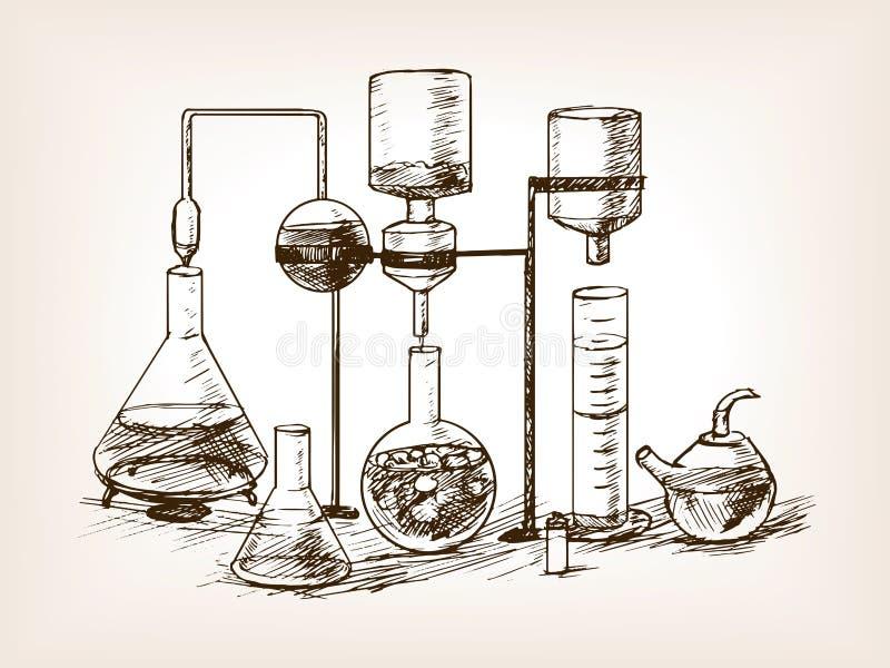 Chemische de schetsvector van het Laboratoriumstilleven stock illustratie