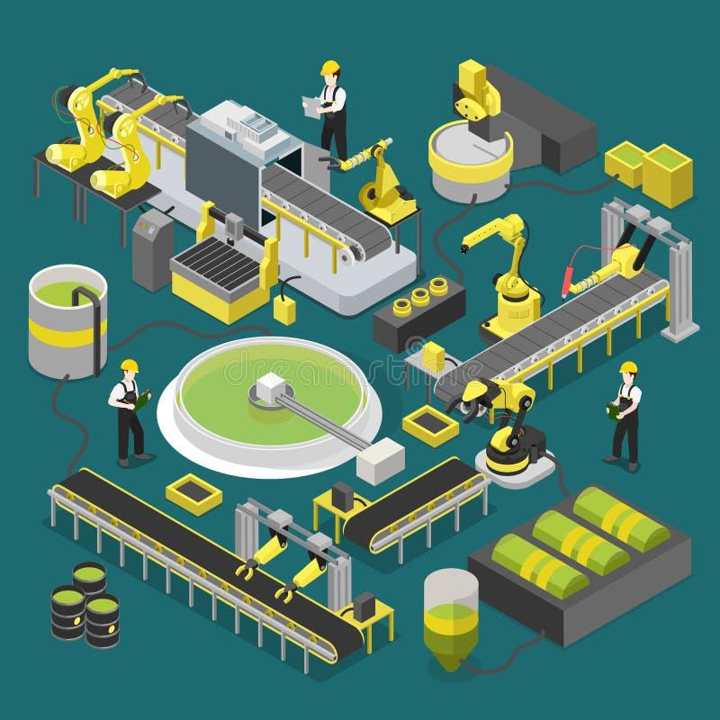 Chemische de workshop robotachtige vlakke 3d van de productie-installatietransportband royalty-vrije illustratie